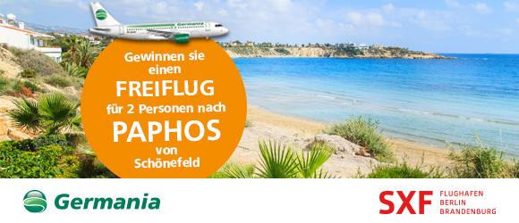Gewinnen Sie einen Freiflug für zwei Personen mit Germania nach Paphos