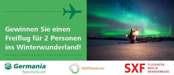 Gewinnen Sie einen Freiflug für zwei Personen mit Germania nach Rovaniemi in Finnisch-Lappland!