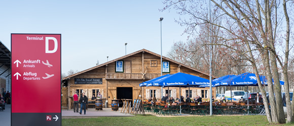 Bavarian food before you fly: alpine cabin at Schönefeld Airport